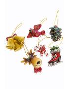Dekoanhänger-Set 6-tlg.  Grün, Rot, Weiß, Goldfarben  - Rot/Goldfarben, Kunststoff (6/8,5/6cm) - X-Mas