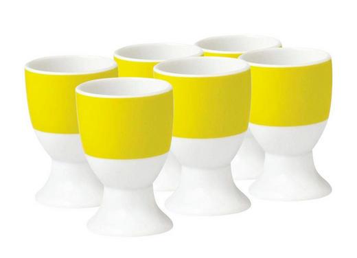 EIERBECHERSET Keramik Porzellan 6-teilig - Gelb/Weiß, Basics, Keramik (16,5/7/11cm)