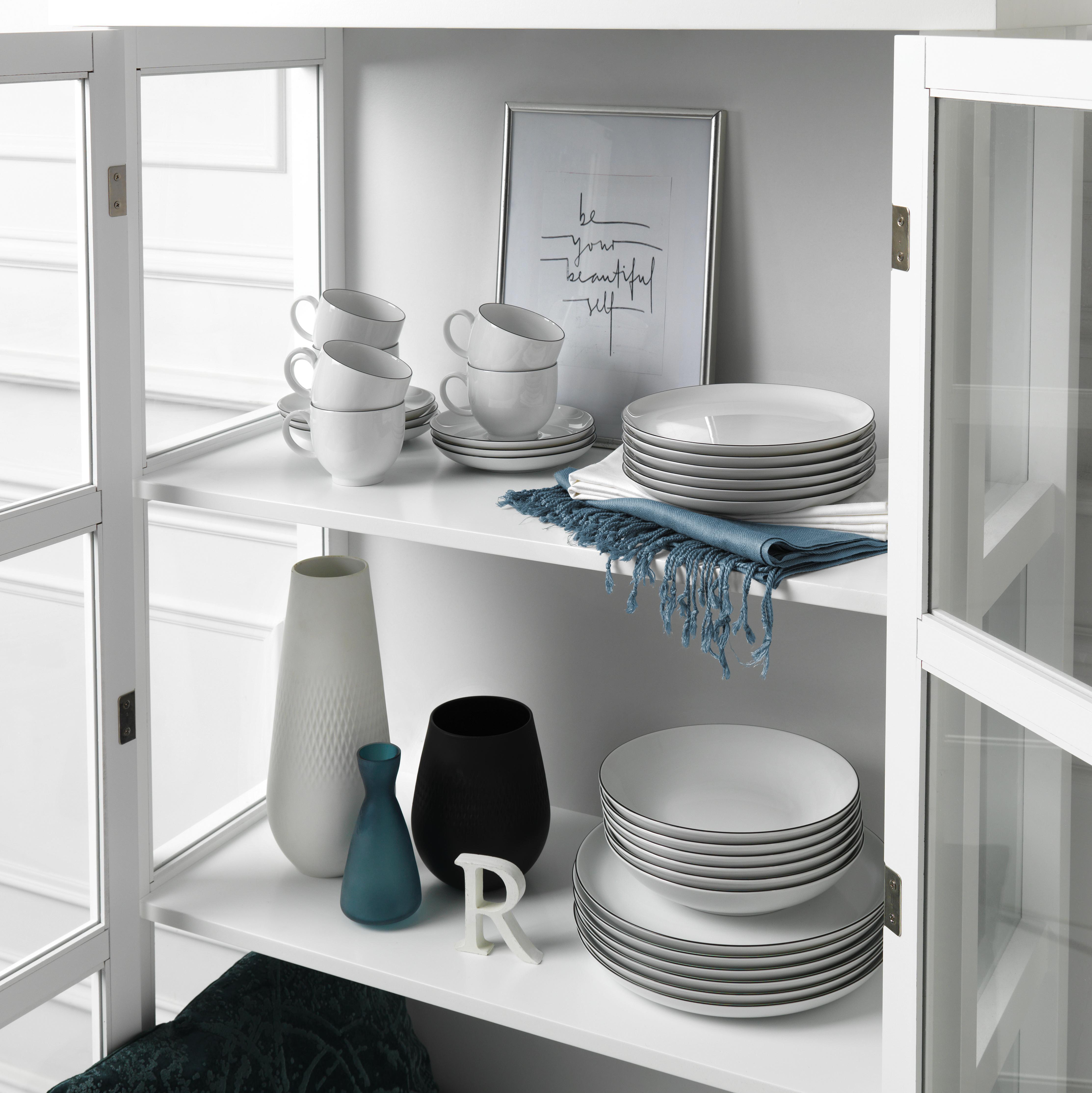 KOMPLETT SERVIS - vit/svart, Klassisk, keramik - Seltmann Weiden