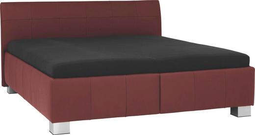 POLSTERBETT 200/200 cm - Rot/Silberfarben, KONVENTIONELL, Leder/Textil (200/200cm) - XORA