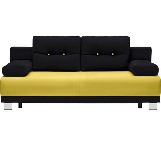 SCHLAFSOFA in Textil Gelb, Schwarz - Gelb/Alufarben, Design, Kunststoff/Textil (200/84/94cm) - Carryhome