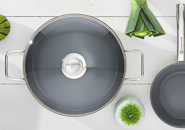 PFANNE 24 cm Keramikbeschichtung - Klar/Edelstahlfarben, Glas/Metall (24cm) - SCHULTE UFER