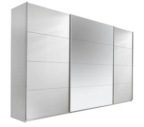 SKJUTDÖRRSGARDEROB - vit/silver, Design, metall/glas (315/210/62cm) - Carryhome