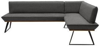 ECKBANK 243/183 cm  in Schwarz, Eichefarben, Dunkelgrau  - Eichefarben/Dunkelgrau, Design, Holz/Textil (243/183cm) - Voleo