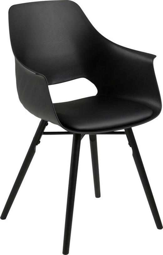 ARMLEHNSTUHL Lederlook Schwarz - Schwarz, Design, Holz/Kunststoff (57,0/85,0/52,5cm) - Carryhome