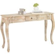 ODKLÁDACÍ STOLEK, dřevo, mangové dřevo, částečně masivní, bílá - bílá, Trend, dřevo (130/80/40cm) - Ambia Home