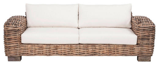 LOUNGESOFA Webstoff Rattan massiv - Naturfarben/Weiß, Trend, Holz/Textil (215/64/96cm) - Ambia Home