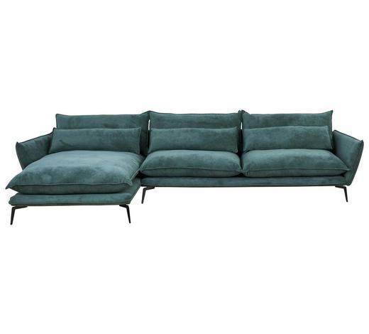 SEDACÍ SOUPRAVA, zelená, textilie - černá/zelená, Design, kov/textilie (165/338cm) - Hom`in