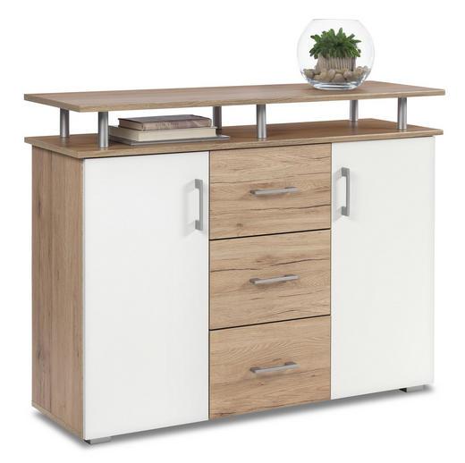 KOMMODE Eichefarben, Weiß - Eichefarben/Silberfarben, KONVENTIONELL, Holzwerkstoff/Kunststoff (116/90/38cm) - Carryhome