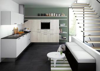 VESTAVNÁ KUCHYŇ - bílá/barvy pinie, Moderní, dřevěný materiál - NOVEL