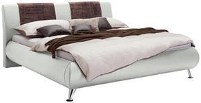 POLSTERBETT 140/200 cm  in Braun, Weiß  - Chromfarben/Braun, Design, Holz/Textil (140/200cm) - Carryhome