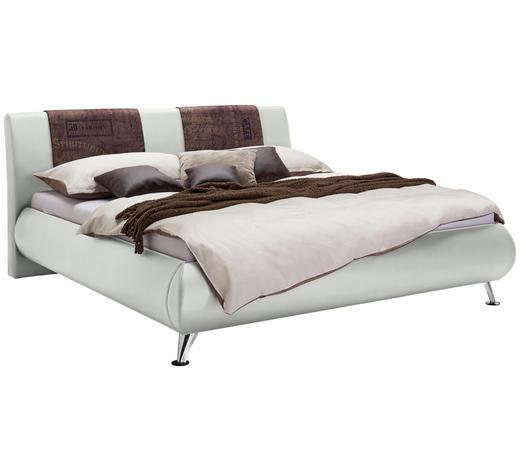 POLSTERBETT 160/200 cm  in Braun, Weiß - Chromfarben/Braun, Design, Holz/Textil (160/200cm) - Carryhome