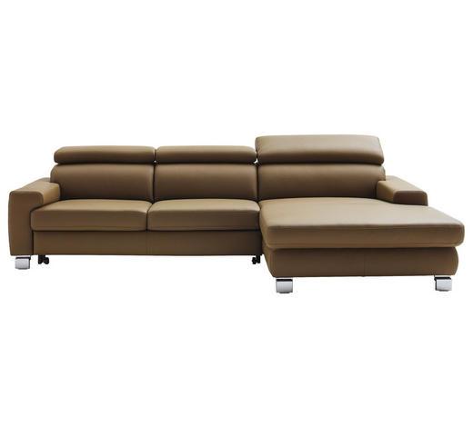 WOHNLANDSCHAFT in Leder Olivgrün - Chromfarben/Olivgrün, Design, Leder/Metall (303/167cm) - Pure Home Lifestyle