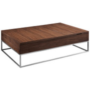 COUCHTISCH in Holz, Metall 80/120/35 cm   - Walnussfarben/Nickelfarben, Design, Holz/Metall (80/120/35cm) - Natuzzi