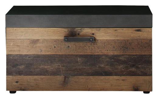 GARDEROBENBANK - Schwarz/Graphitfarben, Trend, Holzwerkstoff/Metall (80 45 37cm) - Xora