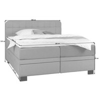 BOXSPRINGBETT Webstoff 180/200 cm  INKL. Bettkasten, Matratze, Topper - Hellgrau/Schwarz, KONVENTIONELL, Holz/Textil (180/200cm) - Elegando