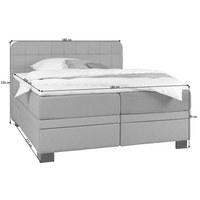 POSTEL BOXSPRING, 180 cm  x 200 cm, textil, světle šedá - černá/světle šedá, Konvenční, dřevo/textil (180/200cm) - Elegando