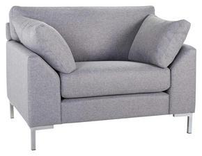 FÅTÖLJ - kromfärg/grå, Klassisk, trä/textil (112/84/85cm)