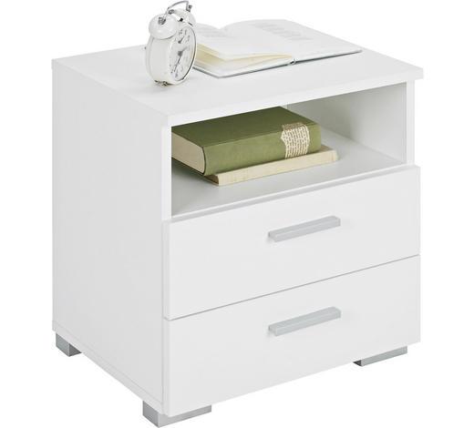NOČNÍ STOLEK, bílá - bílá/barvy hliníku, Design, kompozitní dřevo/umělá hmota (45/47/35cm) - Carryhome