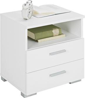 SÄNGBORD - vit/alufärgad, Design, träbaserade material/plast (45/47/35cm) - Carryhome