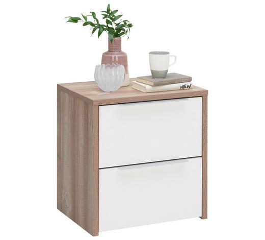 NACHTKÄSTCHENSET Weiß, Kieferfarben - Alufarben/Weiß, KONVENTIONELL, Metall (50/54/40cm) - Carryhome