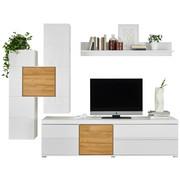 OBÝVACÍ STĚNA, barvy dubu, bílá - bílá/barvy dubu, Design, dřevěný materiál/umělá hmota (255/200/51cm) - Ti`me