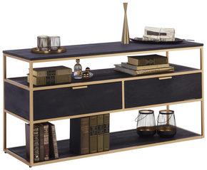 MEDIABÄNK - svart/guldfärgad, Design, metall/trä (120/60/40cm) - Lomoco