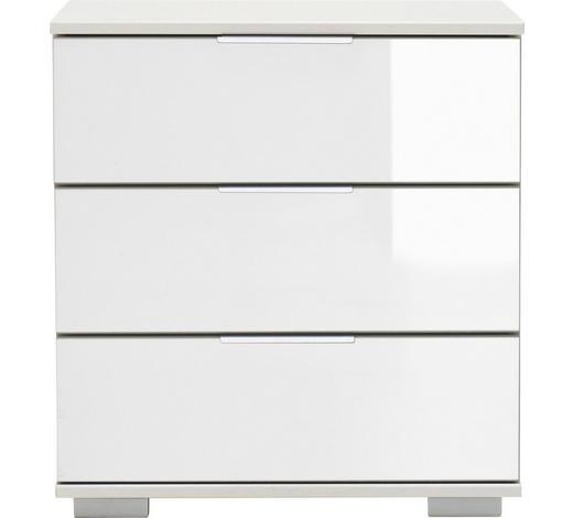 NACHTKÄSTCHEN Weiß  - Chromfarben/Alufarben, Design, Glas/Kunststoff (52/58/38cm) - Carryhome