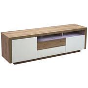 KOMODA LOWBOARD, barvy dubu, bílá - bílá/barvy dubu, Konvenční, dřevěný materiál (160/50/40cm) - Carryhome