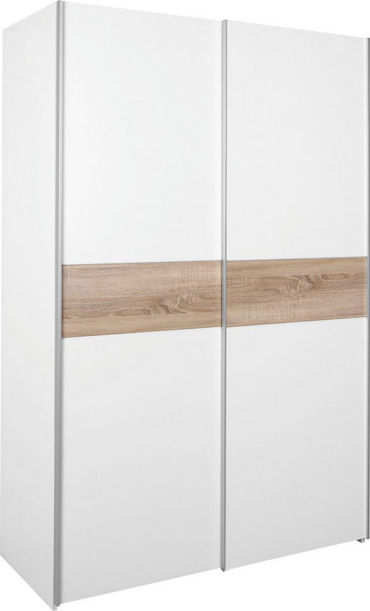 ORMAR S KLIZNIM VRATIMA - bijela/boje aluminija, Design, metal/drvo (125/195/63cm) - Boxxx