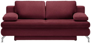 SCHLAFSOFA in Textil Weinrot  - Chromfarben/Weinrot, Design, Textil/Metall (200/91/92cm) - Novel
