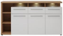 SIDEBOARD Weiß, Eichefarben  - Chromfarben/Eichefarben, Design, Holzwerkstoff/Kunststoff (180/98/41cm) - Hom`in