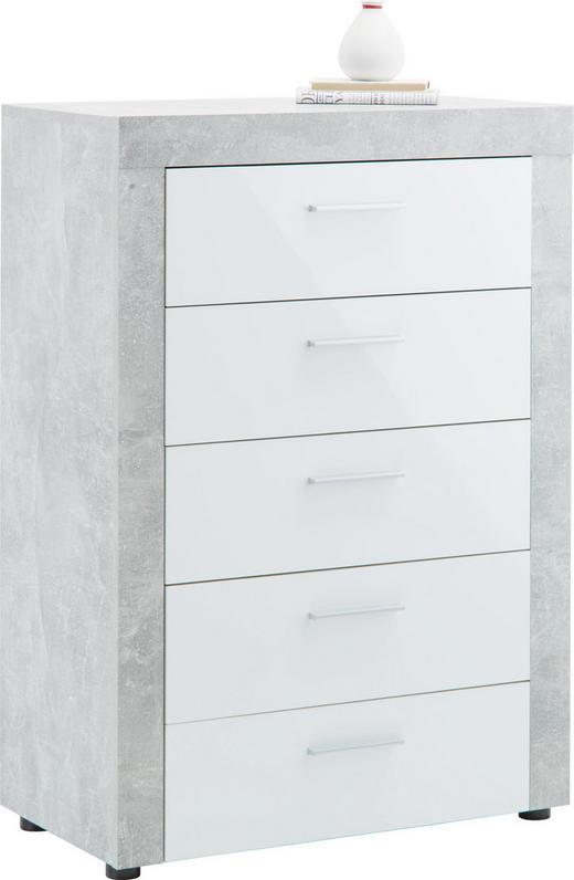 KOMMODE Grau, Weiß - Silberfarben/Schwarz, LIFESTYLE, Kunststoff (74/105/40cm) - Carryhome