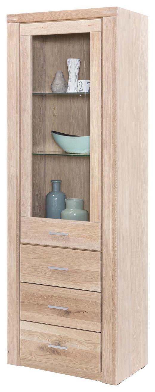 VITRINE Wildeiche teilmassiv Eichefarben - Chromfarben/Eichefarben, LIFESTYLE, Glas/Holz (66/200/40cm) - Carryhome