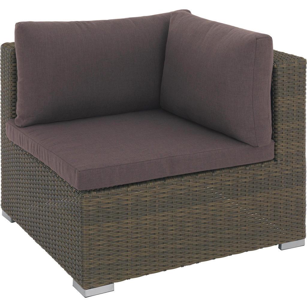 Ambia Garden LOUNGEECKTEIL Textilgeflecht Kunststoffgeflecht Aluminium - Braun - Gold