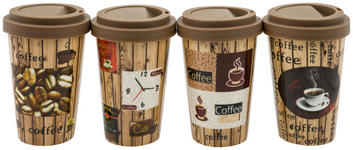 COFFEE-TO-GO-BECHER 0,4 l - Hellbraun/Dunkelbraun, Basics, Keramik/Kunststoff (0,4l) - Boxxx