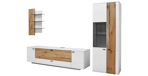 WOHNWAND in Weiß, Eichefarben  - Edelstahlfarben/Eichefarben, Design, Glas/Holz (317/196,8/49,2cm) - Dieter Knoll