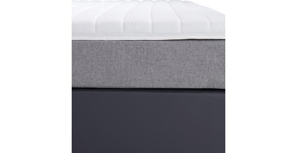 Boxspringbett mit Topper & Matratze H3 180x200cm Hampton - Anthrazit/Alufarben, KONVENTIONELL, Textil (180/200cm) - Luca Bessoni