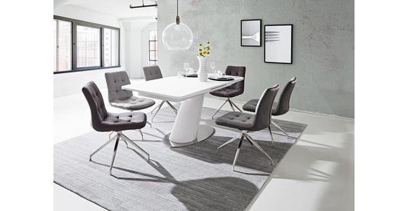 STUHL in Metall, Textil Edelstahlfarben, Dunkelgrau  - Edelstahlfarben/Dunkelgrau, Design, Textil/Metall (47/86,5/62cm) - Xora
