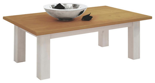 COUCHTISCH Kiefer massiv rechteckig Kieferfarben, Weiß - Weiß/Kieferfarben, Design, Holz (115/70/42cm) - Carryhome
