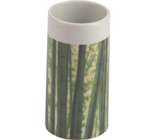 ZAHNPUTZBECHER Keramik - Weiß/Grün, Basics, Keramik (6/12cm) - Sadena