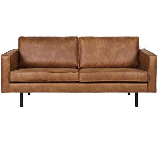 2,5-SITZER Lederlook Braun  - Schwarz/Braun, Design, Textil/Metall (190/85/86cm) - Ambia Home