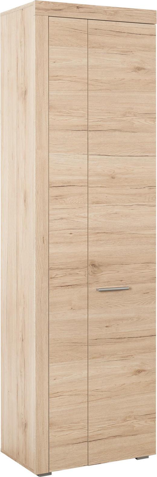 GARDEROBENSCHRANK Eichefarben - Eichefarben/Silberfarben, Design, Holzwerkstoff/Kunststoff (60/198/35cm)