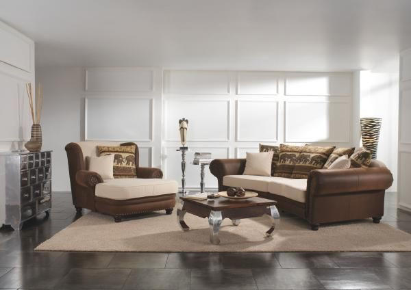 SOFA - bež/smeđa, Lifestyle, tekstil/drvo (276/81/140cm) - LANDSCAPE