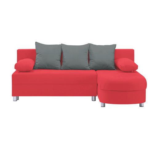 Ecksofa Grau, Rot Webstoff  - Rot/Alufarben, Design, Kunststoff/Textil (195/153cm) - Carryhome
