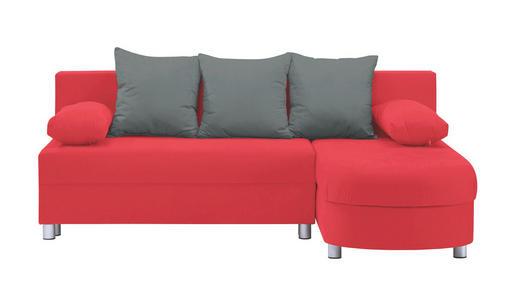WOHNLANDSCHAFT in Textil Grau, Rot - Rot/Alufarben, KONVENTIONELL, Kunststoff/Textil (195/153cm) - Carryhome