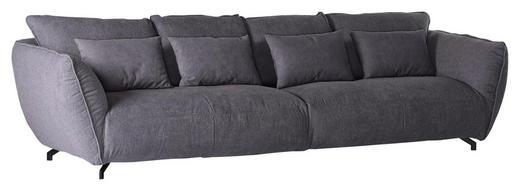 MEGASOFA Flachgewebe Grau - Schwarz/Grau, LIFESTYLE, Textil (320/80/45/125cm) - Carryhome