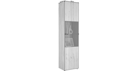 VITRINE in massiv Kernbuche Anthrazit, Buchefarben - Anthrazit/Buchefarben, Design, Glas/Holz (50/206/39cm) - Valnatura