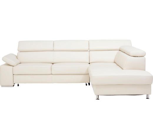 WOHNLANDSCHAFT in Leder Weiß  - Alufarben/Weiß, Design, Leder/Metall (275/226cm) - Beldomo Premium