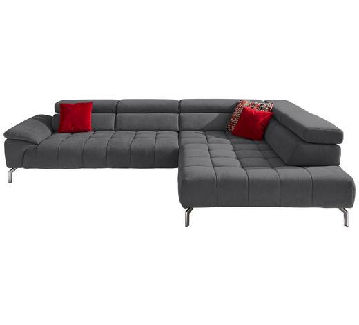 WOHNLANDSCHAFT in Textil Grau  - Chromfarben/Grau, Design, Textil/Metall (323/222cm) - Beldomo Style